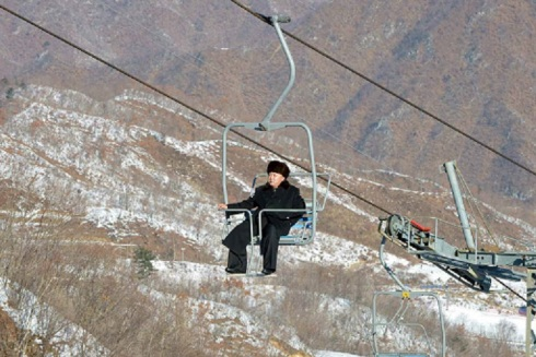North Korean leader Kim Jong-un inspects the Masik Pass ski resort