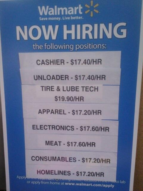 wal-mart $17.40 an hour